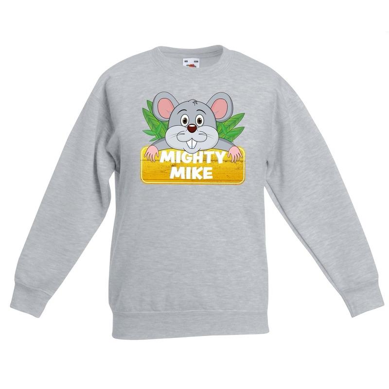 Muizen dieren sweater grijs voor kinderen