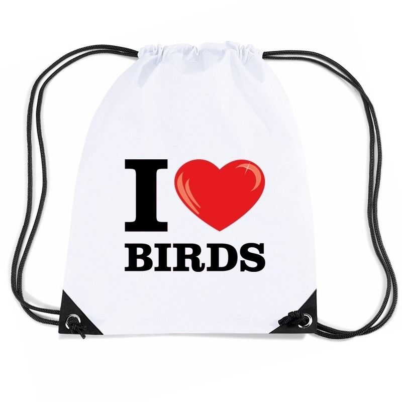 Nylon gymtasje I love birds wit