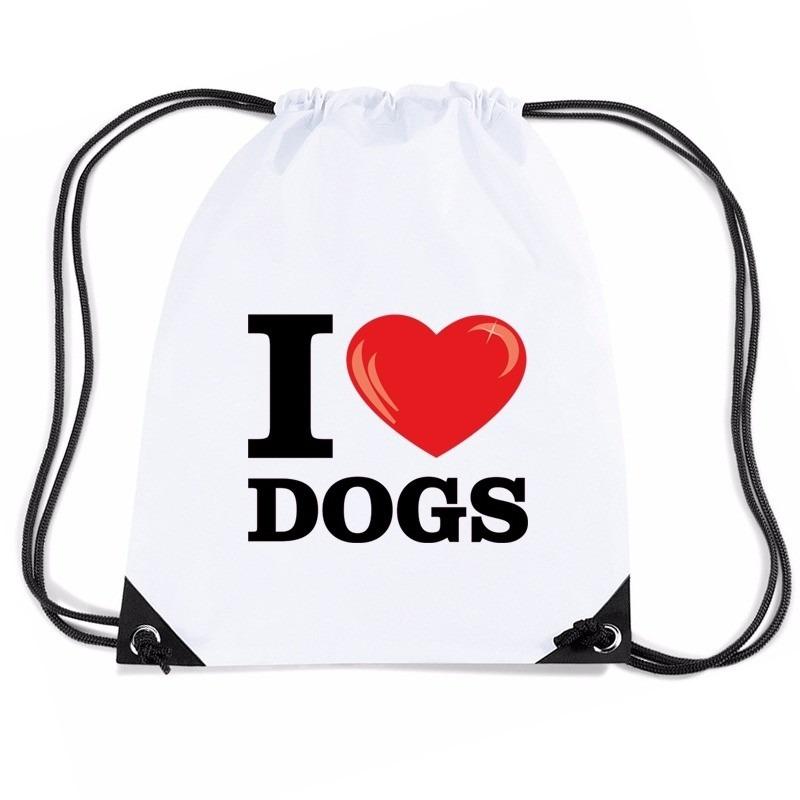 Nylon gymtasje I love dogs wit