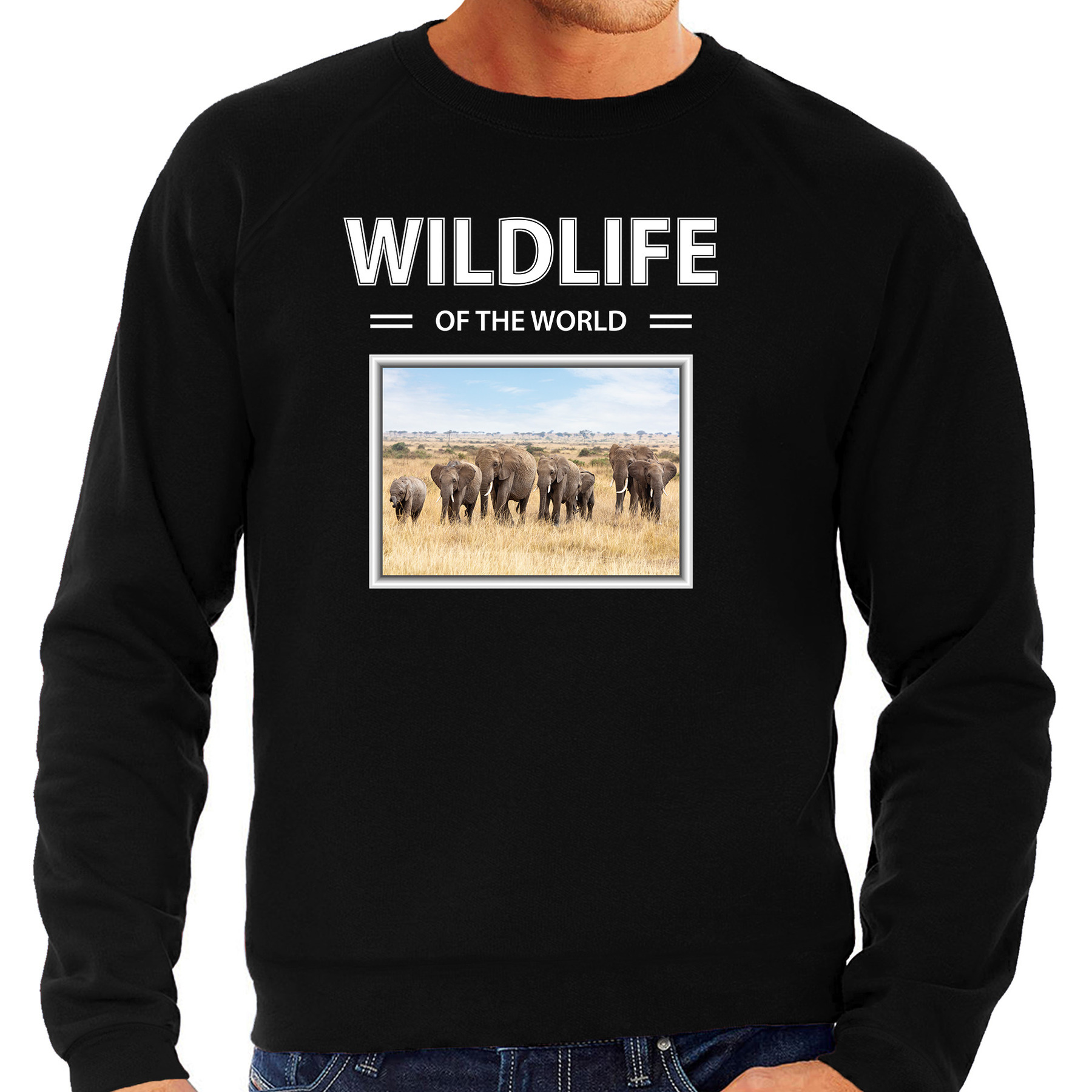 Olifant foto sweater zwart voor heren - wildlife of the world cadeau trui Olifanten liefhebber
