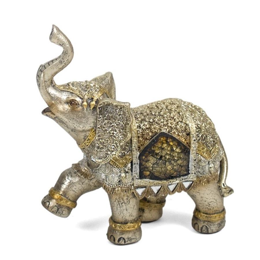 Olifant woondecoratie dieren beeldje goud 16 x 8 x 17 cm