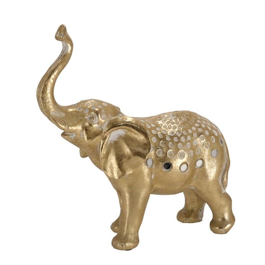Olifant woondecoratie dieren beeldje goud 21 x 8 x 23 cm