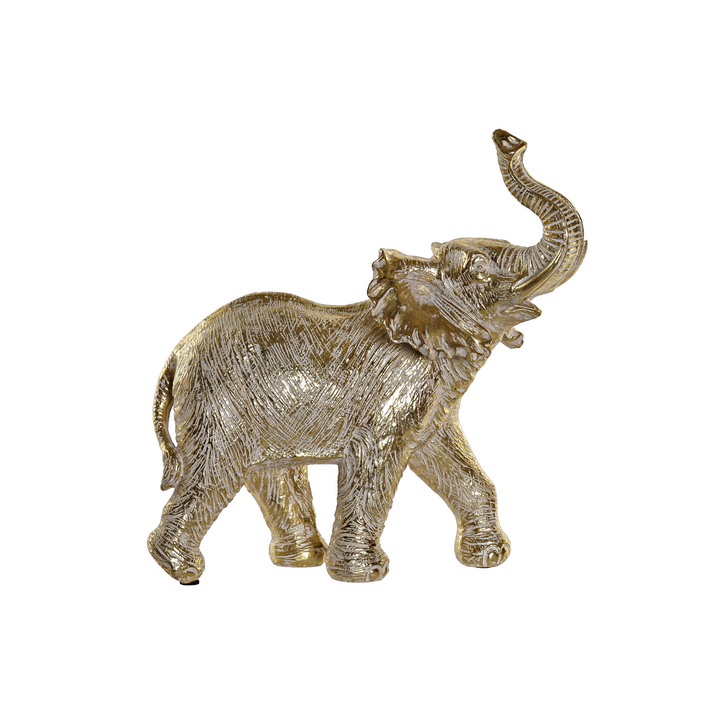 Olifant woondecoratie dieren beeldje goud 26 x 12 x 28 cm