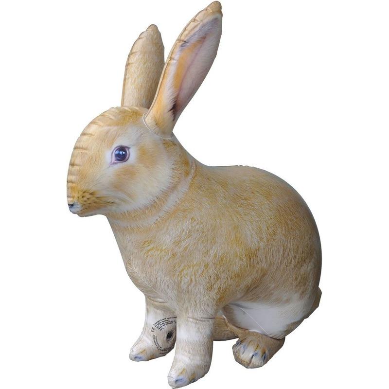 Opblaas konijn/haas dieren 75 cm realistische print