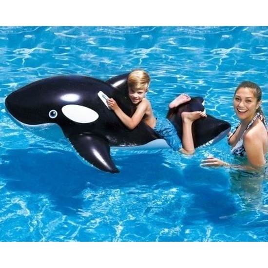 Opblaas orka 127 cm zwart/wit