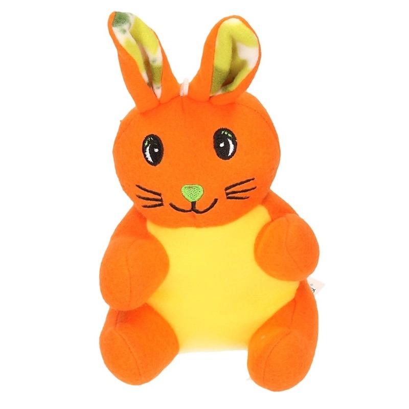 Paashaas knuffel oranje van pluche 23 cm