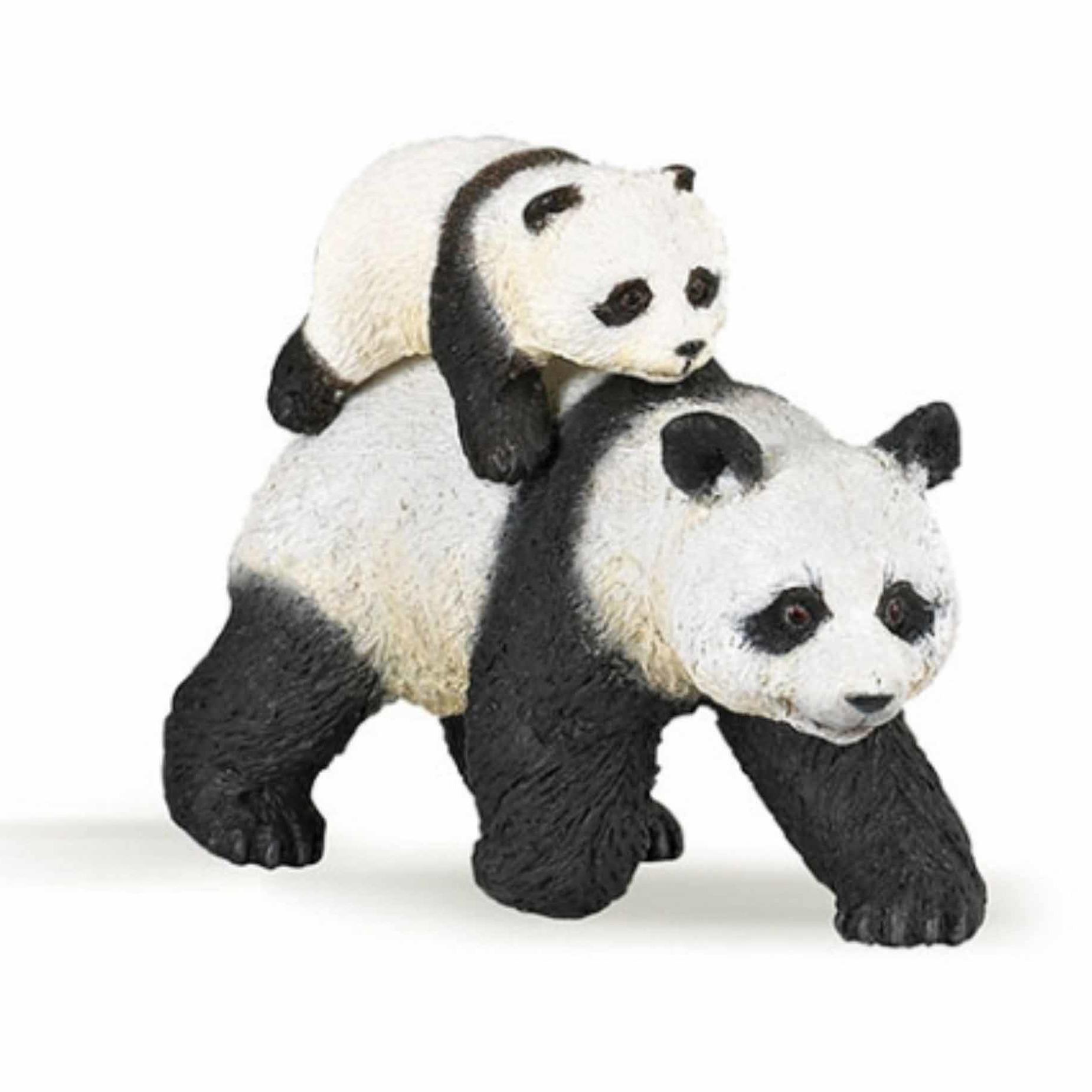 Panda met baby speeldiertje 8 cm