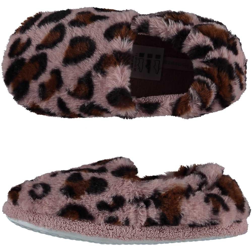 Panter/luipaard print pantoffels/sloffen roze/bruin voor meisjes/kinderen