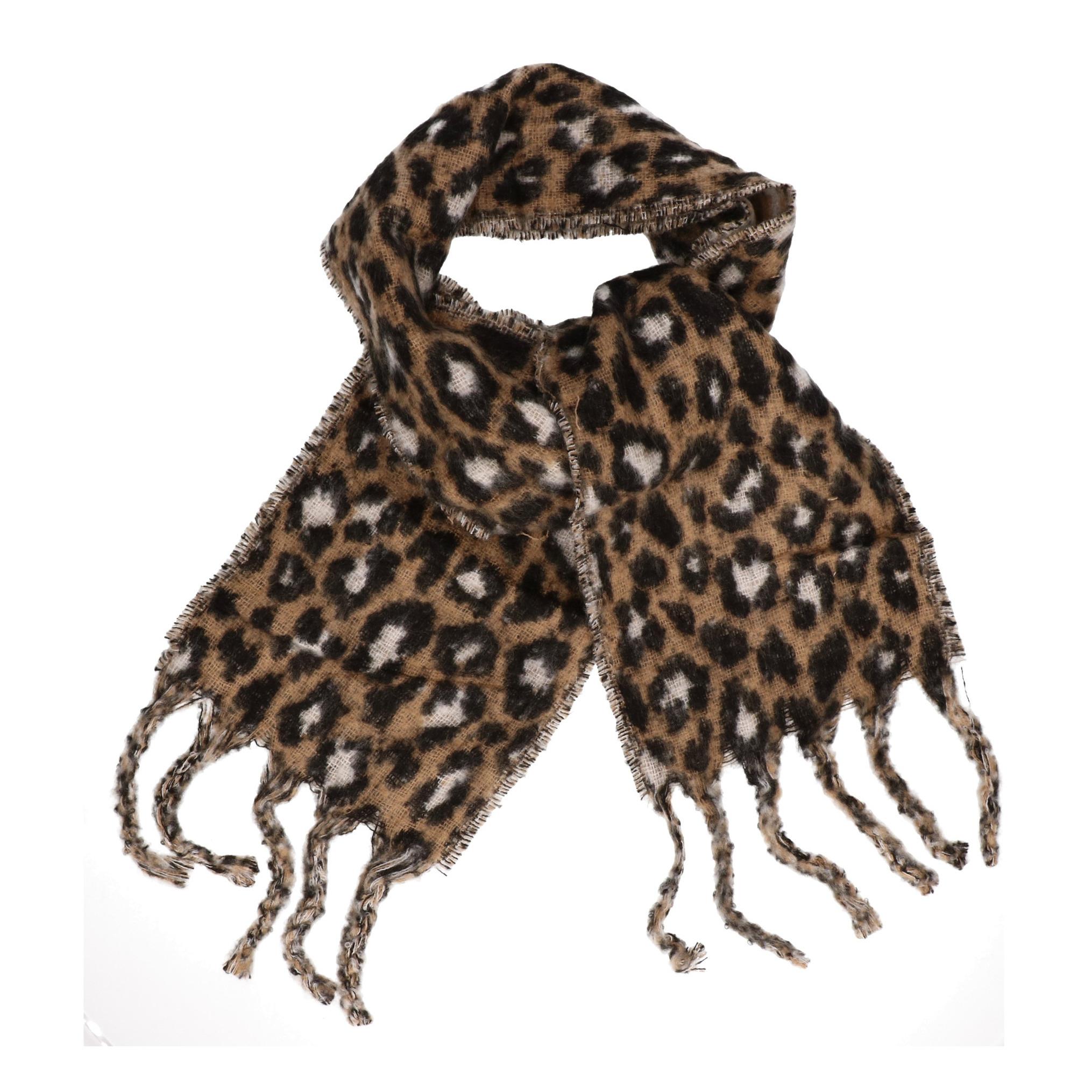 Panter/luipaard sjaal/shawl beige/bruin voor meisjes