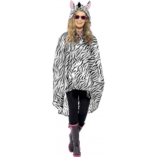 Party regenponcho met zebraprint