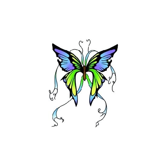 Plak tattoos glitter vlinder groen/blauw
