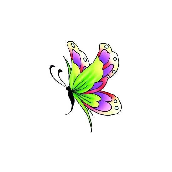 Plak tattoos glitter vlinder groen/paars