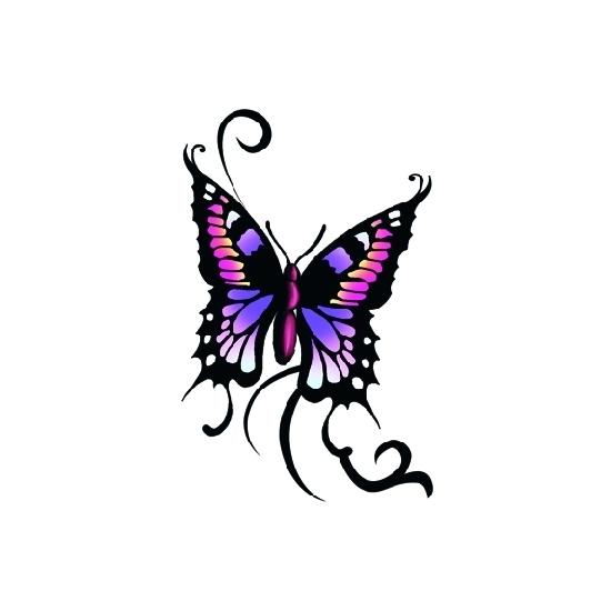 Plak tattoos glitter vlinder zwart/paars
