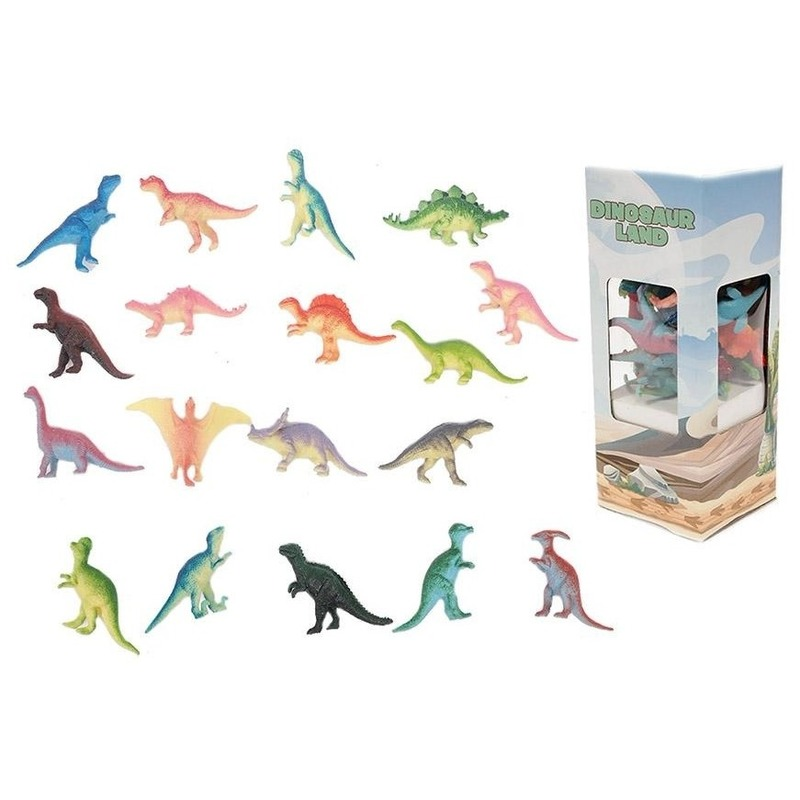 Plastic dinosaurussen doos 18 stuks