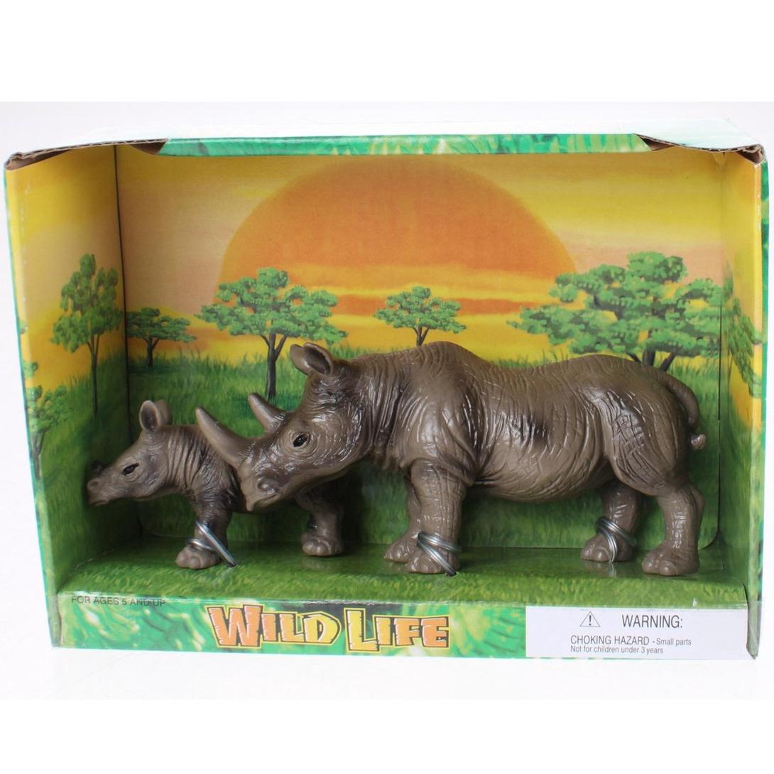 Plastic neushoorn met kalf speelgoed voor kinderen