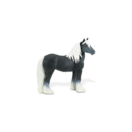Plastic paard zwart/wit 11,5 cm
