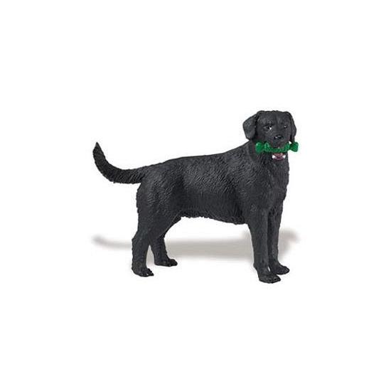 Plastic speelgoed zwarte Labrador hond 9 cm