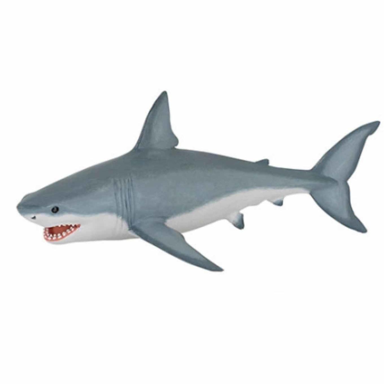Plastic witte haai speeldiertje 19 cm