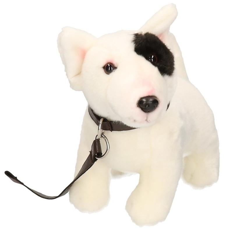 Pluche Bull Terrier aan riem