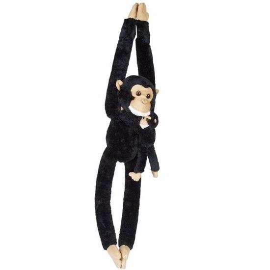 Pluche chimpansee met baby knuffeldier 84 cm
