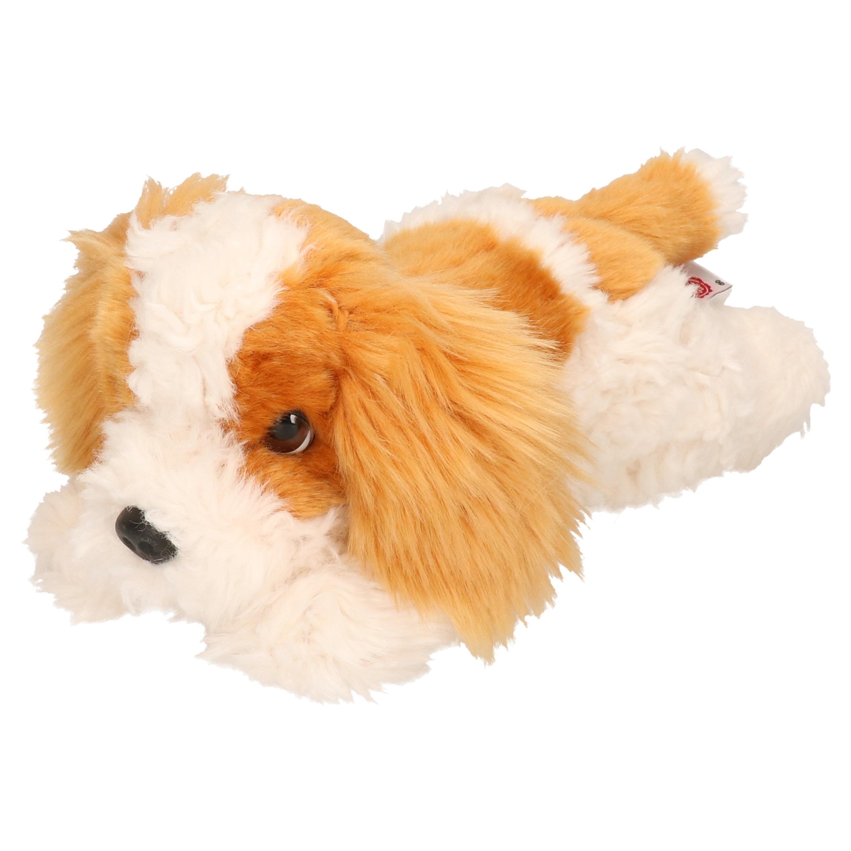 Pluche creme/roodbruine King Charles Spaniel puppy honden knuffel 25 cm