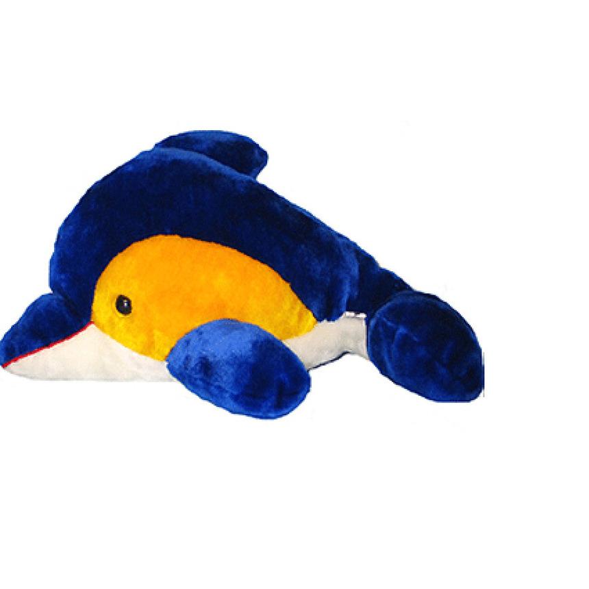 Pluche dolfijn geel met blauw 56 cm