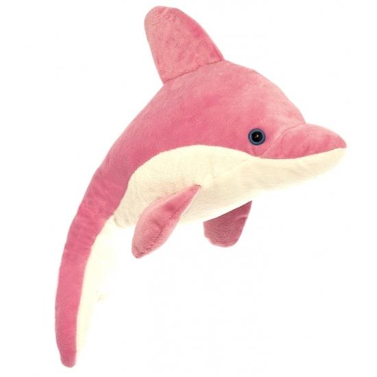 Pluche dolfijn knuffeldier roze/wit 23 cm