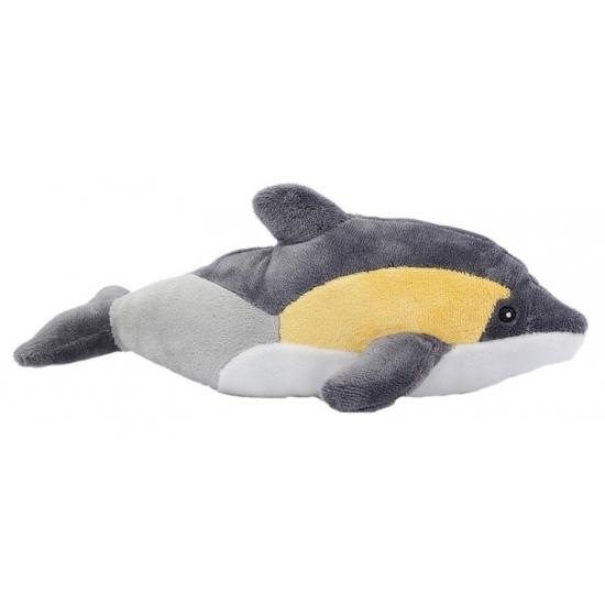 Pluche dolfijnen knuffel geel/grijs 25 cm