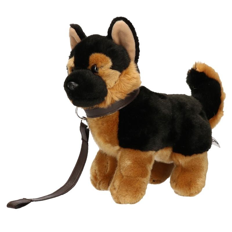 Pluche Duitse Herder puppy/hondje knuffel aan lijn 25 cm
