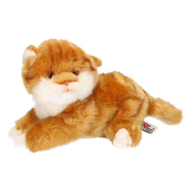 Pluche gestreepte poezen/katten/kittens knuffels bruin 27 cm