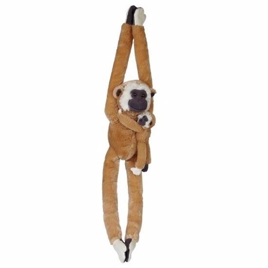Pluche gibbon met baby knuffeldier 84 cm