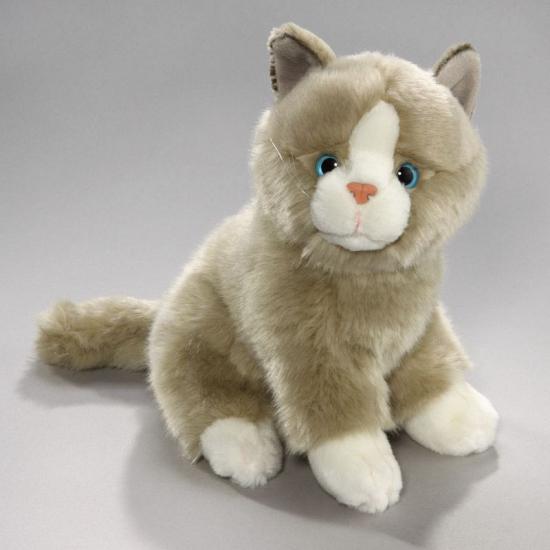 Pluche grijs/witte kat/poes 23 cm