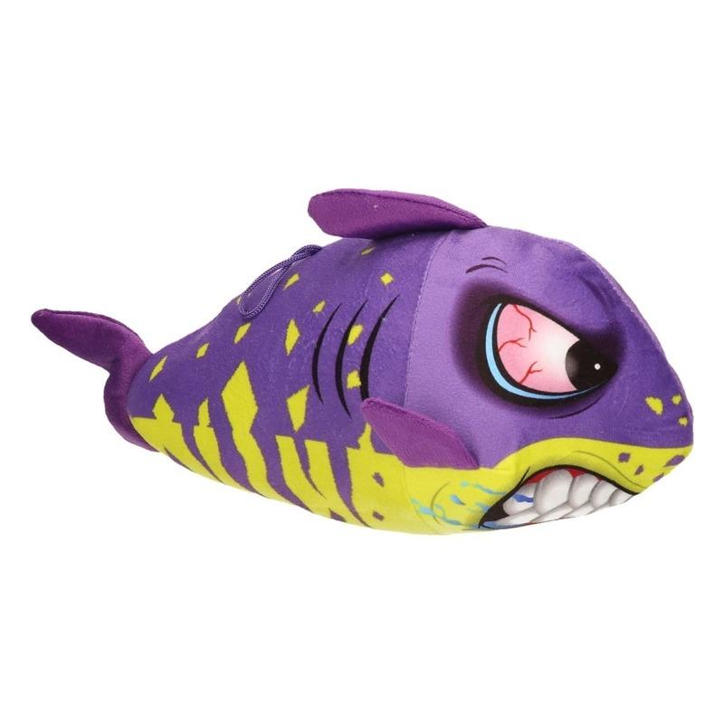 Pluche haaien knuffel paars/geel 24 cm