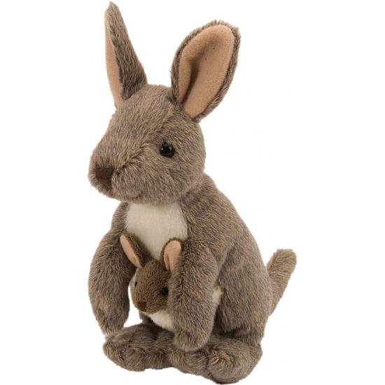 Pluche kangoeroes met baby 20 cm