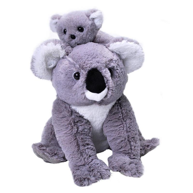 Pluche koalabeer met jong grijs knuffel 38 cm knuffeldieren