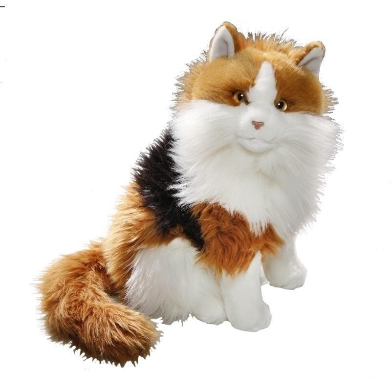 Pluche langharige Calico schildpaspoezen/katten 30 cm