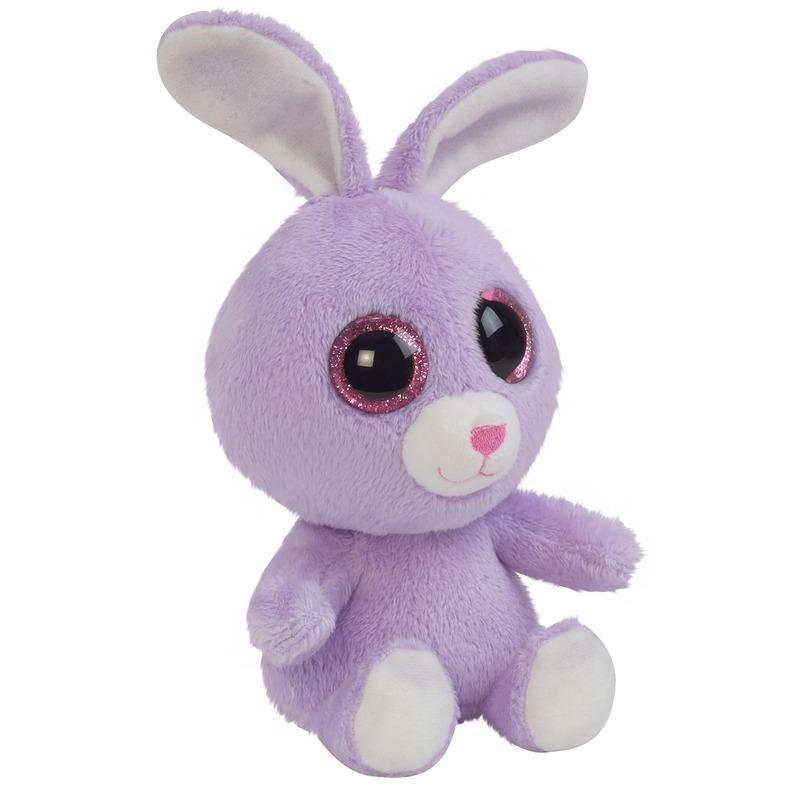 Pluche paarse haas/konijn knuffeldier 15 cm