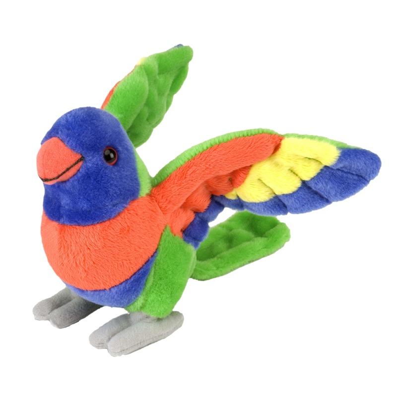 Pluche papegaai lori dierenknuffel 25 x 20 x 10 cm