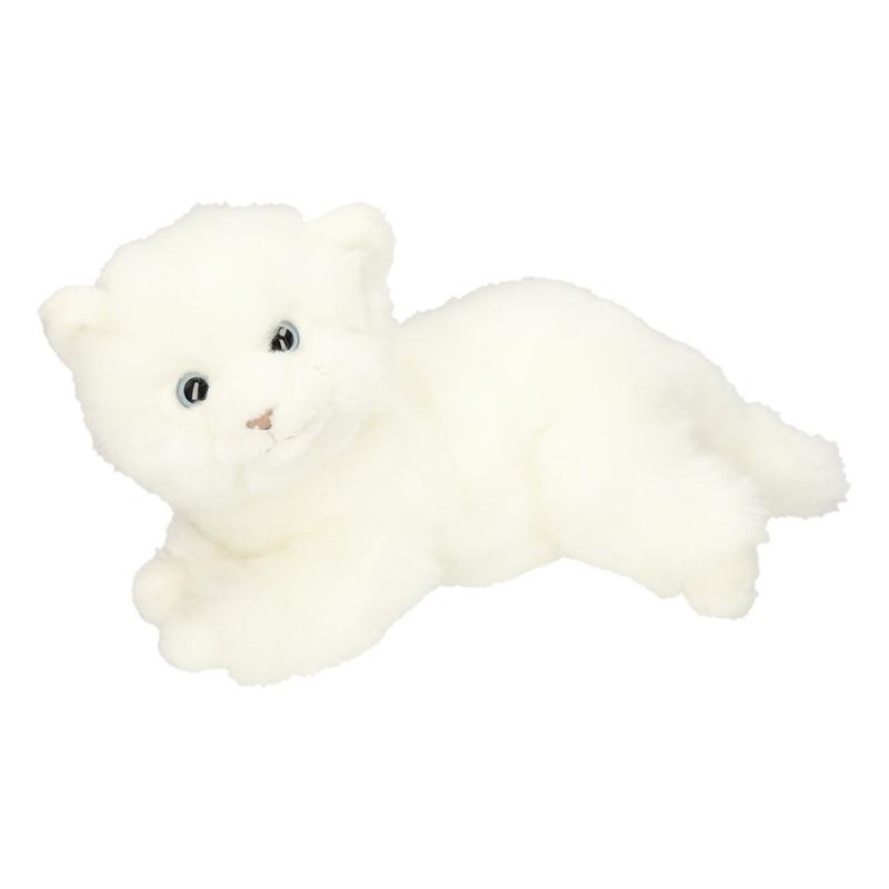 Pluche poezen/katten/kittens knuffels wit 27 cm