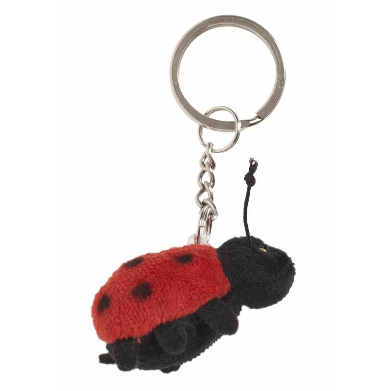 Pluche sleutelhanger lieveheersbeestje knuffel 6 cm