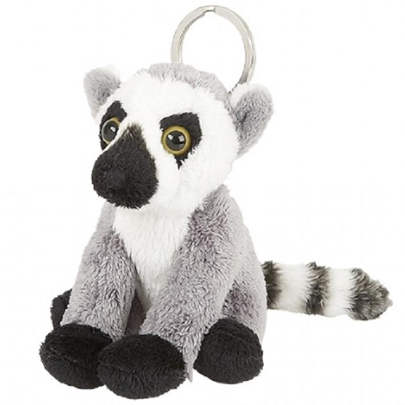Pluche sleutelhanger ringstaartmaki aapje knuffel speelgoed 10 cm