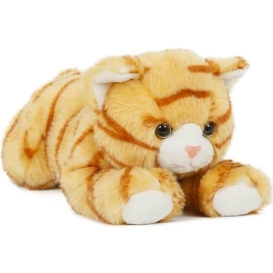 Pluche speelgoed poes/kat knuffeldier oranje 25 cm