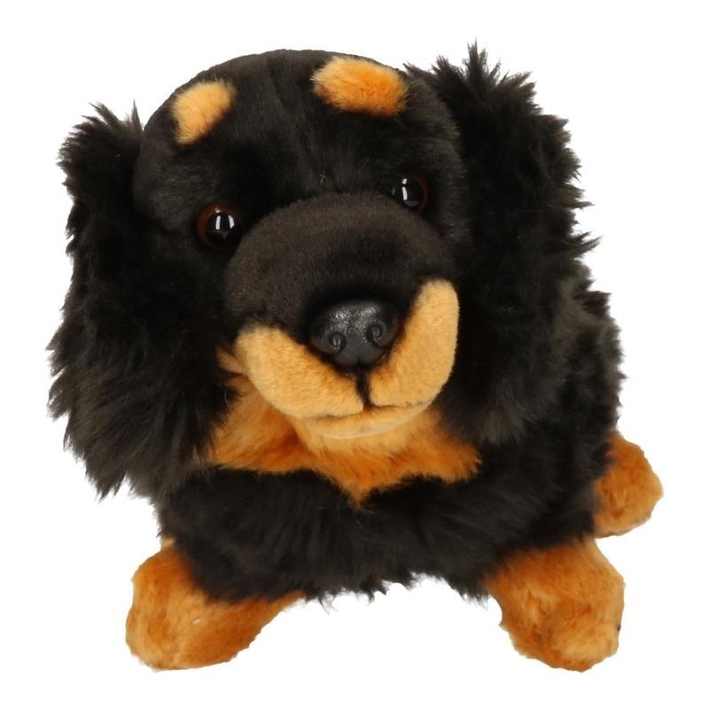 Pluche teckels zwart met bruin 29 cm