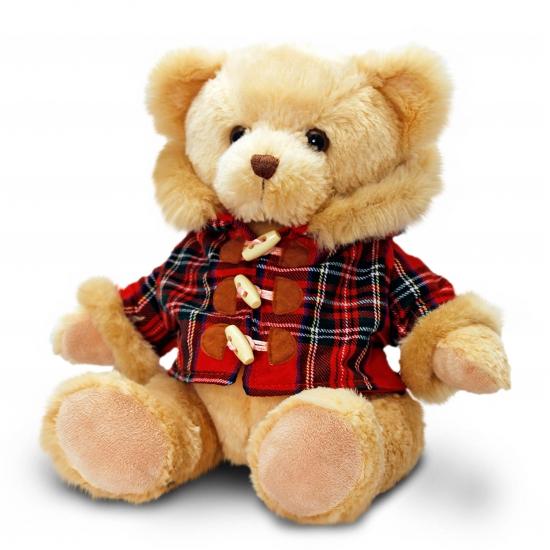 Pluche teddy beer met houtje touwtje jasje 25 cm