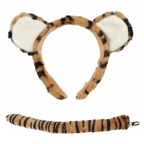 Pluche tijgertje hoofdband met staart voor kinderen