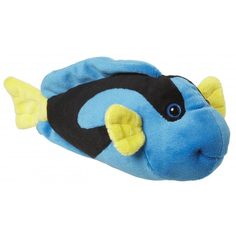 Pluche visje blauw/geel knuffeldier 22 cm