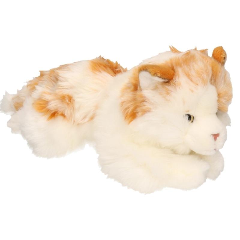 Pluche wit/bruin gevlekte kat/poes 26 cm