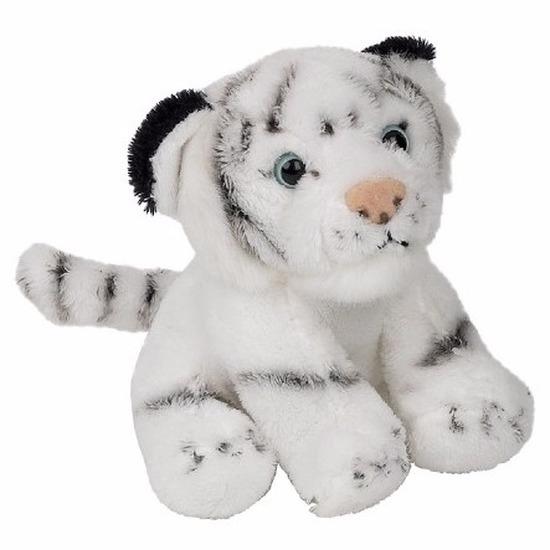 Pluche witte tijger knuffel zittend van 15cm
