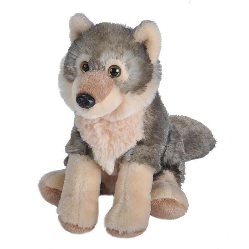 Pluche wolf dierenknuffel 16 cm