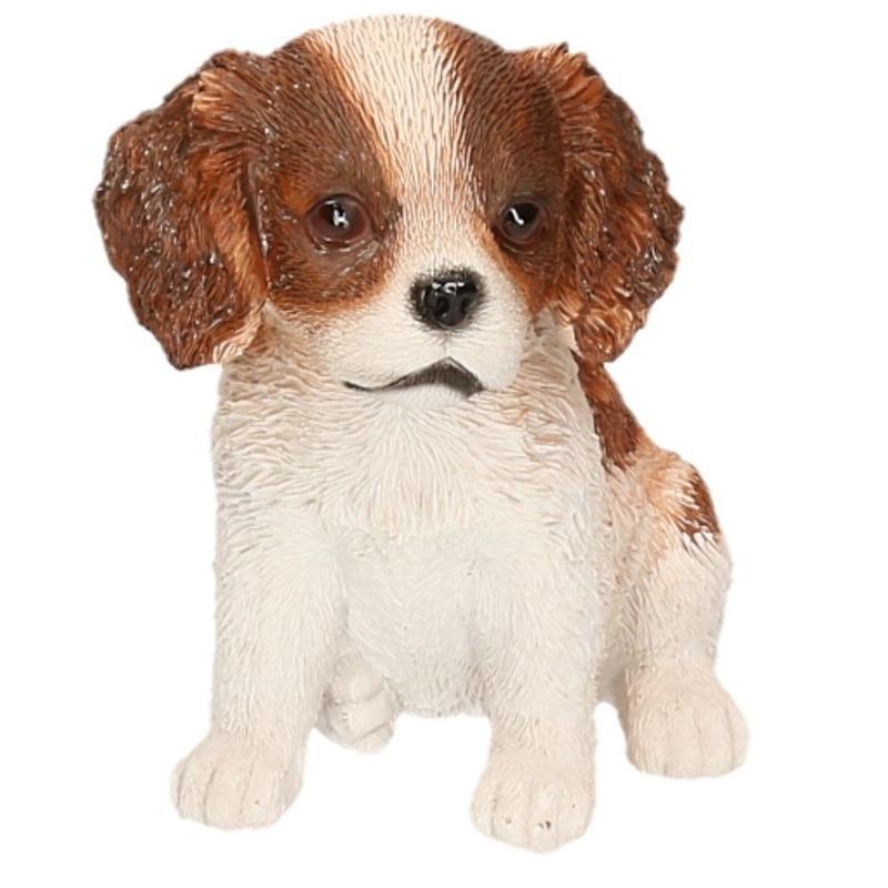 Polystone tuinbeeld bruin/wit Cocker Spaniel puppy hondje 15 cm